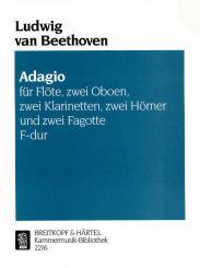 Beethoven, Ludwig van: Adagio F-Dur für die Spieluhr für Flöte, 2 Oboen, 2 Klarinetten, 2 Hörner, und 2 Fagotte,  Partitur und Stimmen