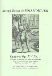 Boismortier, Joseph Bodin de: Concerto op.15,1 for 5 oboes (4-5 instruments and Bc), score and parts