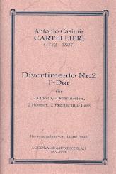 Cartellieri, Antonio Casimir: Divertimento F-Dur Nr.2 für 2 Oboen, 2 Klarinetten, 2 Hörner und 2 Fagotte, Partitur und Stimmen
