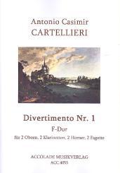 Cartellieri, Antonio Casimir: Divertimento F-Dur Nr.1 für 2 Oboen, 2 Klarinetten, 2 Hörner und 2 Fagotte, Partitur und Stimmen