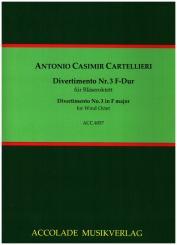 Cartellieri, Antonio Casimir: Divertimento F-Dur Nr.3 für 2 Oboen, 2 Klarinetten, 2 Hörner und 2 Fagotte, Partitur und Stimmen