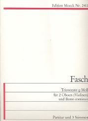 Fasch, Johann Friedrich: Triosonate g-Moll für 2 Oboen (Violinen) und Bc, Partitur und 3 Stimmen