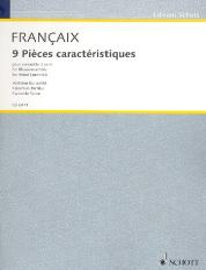 Francaix, Jean: 9 Pièces caractéristiques 2 Flöten, 2 Oboen 2 Klarinetten, 2 Fagotte und 2 Hörner, Partitur