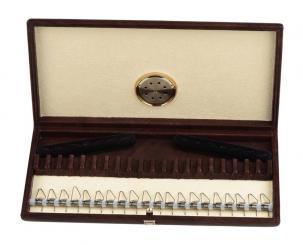 Hygrocase in pelle con meccanismo a molla per 20 ance per oboe
