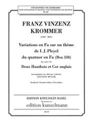 Krommer, Franz Vinzenz: Variations en fa sur un thème de I.J. Pleyel für 2 Oboen und, Englischhorn,  Stimmen