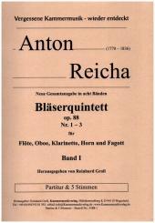 Reicha, Anton (Antoine) Joseph: Bläserquintette op.88 Band 1 (Nr.1-3) für Flöte, Oboe, Klarinette, Horn und Fagott, Partitur und Stimmen