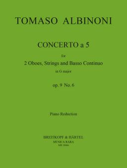Albinoni, Tomaso: Concerto à 5 op.9,6 for 2 oboes and strings, for 2 oboes and piano