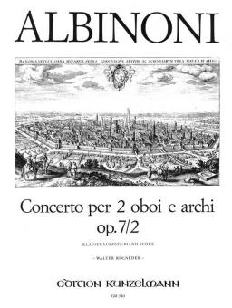 Albinoni, Tomaso: Konzert C-Dur op.7,2 für 2 Oboen und Streichorchester für 2 Oboen und Klavier