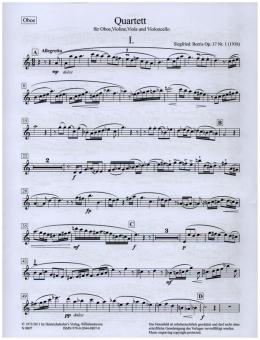 Borris, Siegfried: Oboenquartett op.17 Nr.1 für Oboe, Violine, Viola und Violoncello, Stimmen