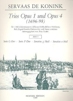 Konink, Servaas de: Trios aus op.1 und op.4 Band 3 für 2 Melodieinstrumente, Baß und Bc, Partitur und 3 Stimmen