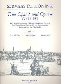 Konink, Servaas de: Trios aus op.1 und op.4 Band 2 für 2 Melodieinstrumente, Baß und Bc, Partitur und 3 Stimmen