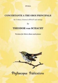 Schacht Theodor von: Concertante a 3 oboi principale for 3 oboes, 2 horns in Bb/F and strings: for 3 oboes and piano, parts